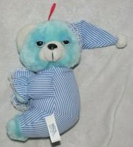 "Nanco Stuffed Plush Blue White Teddy Bear Pajamas Night Hat Cap Sleepy 8"" - $39.59"