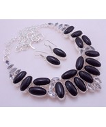 Black Onyx Silver Overlay Handmade Jewelry Necklace 104 Gr. F-351 - $44.55