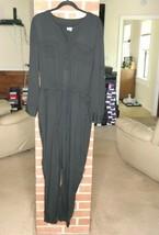 Lou & Grey Jumpsuit Sz M Black Long Roll Tab Sleeve Cinch Waist Womens R... - $27.00