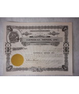 General Mines Inc Montana Stock Certificate Unused Very Nice - $7.97