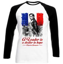 Bonaparte Napoleon A Leader - Black Sleeved Baseball Cotton Tshirt - $27.13