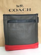 NWT COACH Camden Pebbled Leather Tech Cross Body Bag F71341 Grey Black Red $348 - $187.95