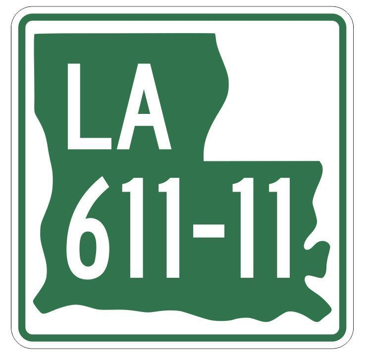 Louisiana State Highway 611-11 Sticker Decal R6615 Highway Route Sign