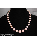 VTG AVON Signed Gold Tone Plastic Lucite? Pink Marble Beaded Necklace/Br... - $29.70