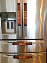 Refrigerator Door Handle Covers Set of 4 Bohemian Brown Scrolls Theme 13... - $25.98