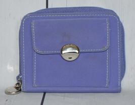 Nine West Womens Purple Zip Around Envelope With Coin Pocket Canvas Wallet - $16.82