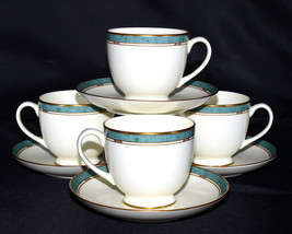 Pfaltzgraff Patina * 4 SETS CUPS & SAUCERS * Turquoise Marble-Like Band, Exc! - $24.99