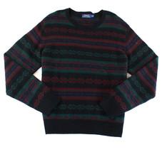 $350 Polo Ralph Lauren Mens Stripe Crewneck Wool Sweater, Navy, Size L - $148.49