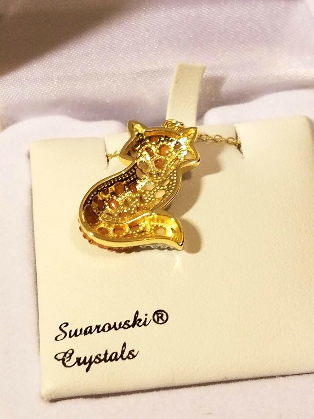 Artistique Swarovski Crystal & 14k Gold - Orange Fox Pendant Necklace NIB image 3