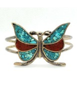 Vintage Southwestern Sterling Silver 925 Turquoise Coral Butterfly Cuff ... - $49.99