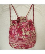 Vera Bradley Backpack Medium Pink Floral Quilted Bucket Bag Drawstring P... - $29.70