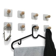 VTurboWay 8 Pack Adhesive Wall Hooks, No Drills Wooden Hat Hooks, Storage Wall M image 1