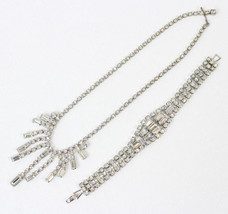 Round & Baguette Bracelet w Fringed Necklace Wedding Jewelry Set Crystal... - $56.95