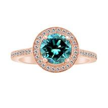 1.45 Ct Blue Topaz 10k Rose Gold Fn 925 Engagement Wedding Halo Ring - $79.99