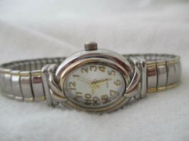 Accutime Women's Oval Watch, Goldtone Dial, Slim Silvertone Metal Expansion Band - $29.00