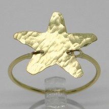18K YELLOW GOLD FLAT STAR RING, FINELY WORKED, SATIN, HAMMERED, MADE IN ITALY image 1