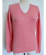 Charter Club 100% Cashmere Sweater XS V Neck Coral Pink Crew Neck Long S... - $39.99