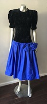 Sweetheart Taffeta Vintage 80s Velour Colorblock Blue Bow Prom Party Dre... - $68.05