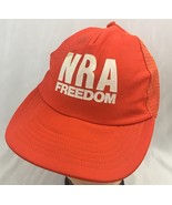 Vintage NRA Freedom Snapback Hat Cap Orange Mesh Distressed MacGregor - $16.79