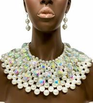 Faux Perle Gros Fantaisie Lourd Cléopâtre Collier Boucles D'Oreilles Ab Strass - $87.69