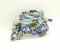 Blue Mixed Art Glass Stone Leaf Brooch Vintage Rhinestones  - $44.55