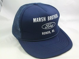 Marsh Brothers FORD Honor MI Hat Vintage Dark Blue Snapback Trucker Cap - $14.81