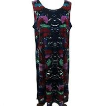 Dana Buckman Mesh Overlay Tank Shift Dress XL Tropical Print Blue Red Lined - $25.73