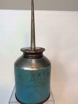 Vintage Bass Lawn Mower Tin Oil Can Blue - $11.00