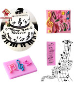 Multi Music Note Silicone Mold Lace Mould Fondant Mat DIY Cake Decoratin... - $19.30