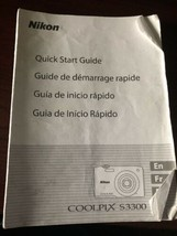 Nikon Genuine Coolpix S3300 Camera Quick Start Guide - $9.75