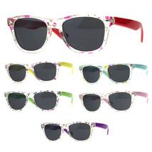 Kids Girls Hipster Horned Rim Flower Print Plastic Sunglasses - $9.95
