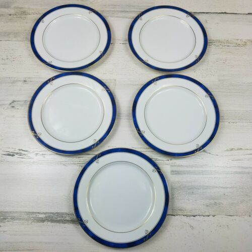 5 Nikko Sapphire Fine China Salad Luncheon Plates Patra White Blue Gold  - $15.28