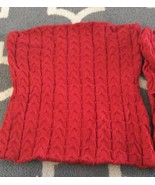 Set Of 2 Pillow Cases Red Knitted 18x18 - $12.19