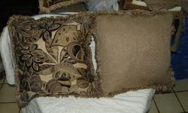 Pair of Beige Tan Black Abstract Leaf Print Chenille Throw Pillows  20 x 20 - $59.95