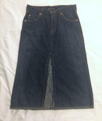 Earl Jeans Denim Midi Skirt Raw Hem Sz XP Long Distressed USA Made 100% Cotton