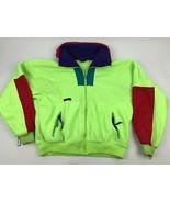 Vtg 90s COLUMBIA Wizbang Neon Fluorescent Color block Fleece Jacket Aest... - $44.55