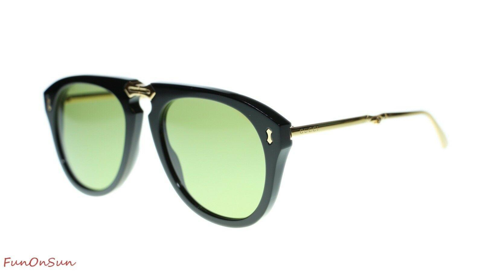 NEW Gucci Men's Sunglasses GG0305S 001 Black Gold Green Lens 56mm Authentic