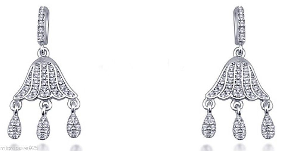 Super Design Dangle Earrings Sterling Silver 925 Pave Set Cubic Zirconia Stones