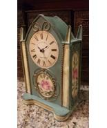 SHABBY CHIC Mantle Clock painted roses -Edinburgh Clock Works Co. London... - $32.18