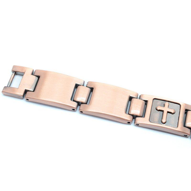Cross Pattern Magnetic Bracelet For Men Christian Fashion Antique Copper Charm B