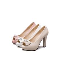 peep Party karinluna Wedding 2018 Shoes Spring Bowtie Woman Toe New High Heels gvgSq