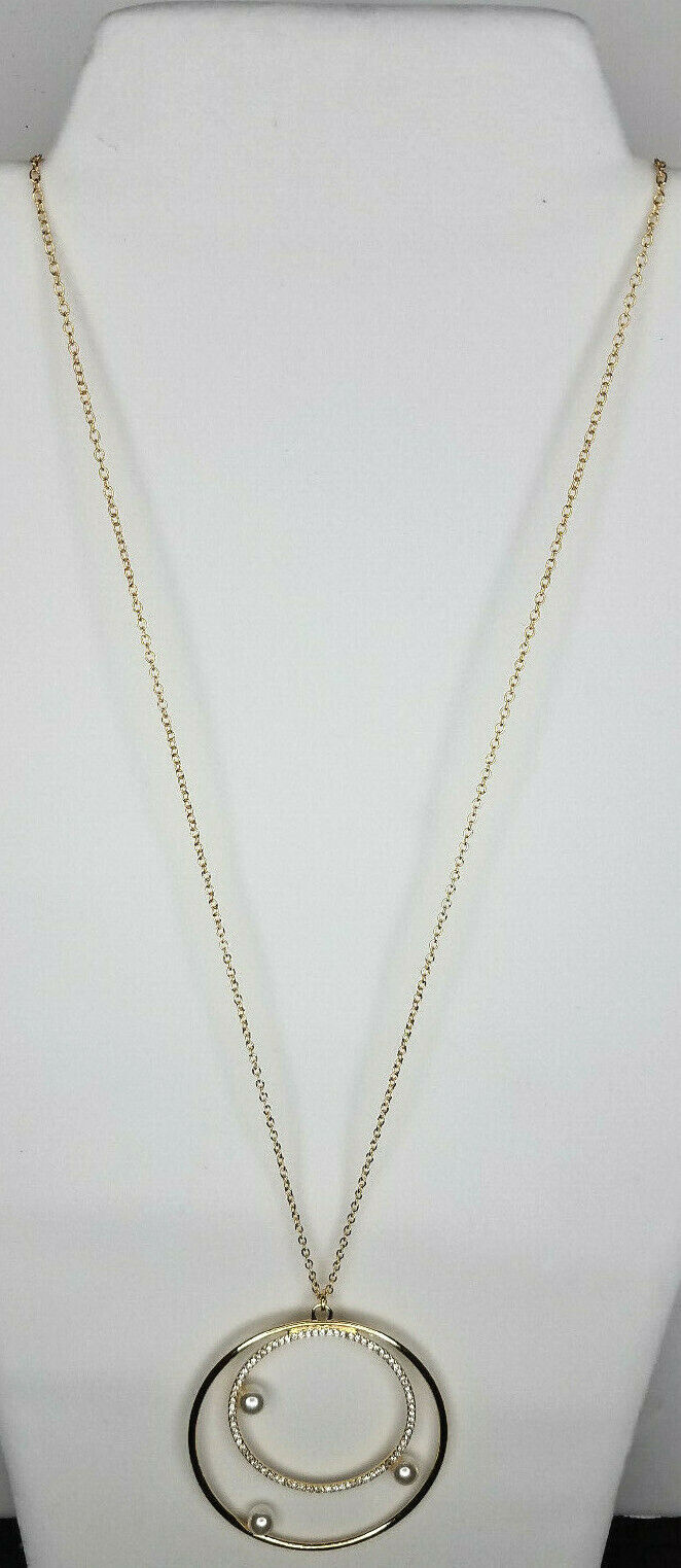 Primary image for Vince Camuto White Pearls Gold Tone Necklace NEW $38