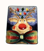 Red Nose Reindeer Christmas Large 3-Section Divided Chip Dip Bowl NEW 2001 DISC - $39.99