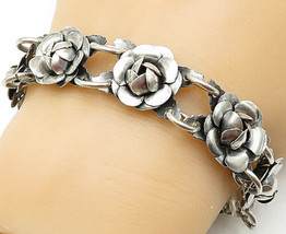 MEXICO 925 Silver - Vintage Sculpted Flower Round Link Chain Bracelet - ... - $103.93