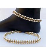 ANKLET BRACELET ANTIC PEARL CZ PAYAL SET BOLLYWOOD Fashion INDIAN GOLDEN... - $17.58