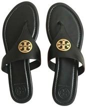 Brand New Tory Burch Benton Black Leather Gold 7.5M Flat Thong Women's Sandals - $217.79