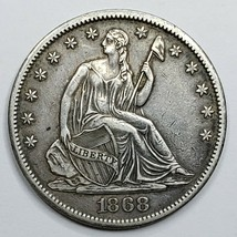 1868S Seated Liberty US Silver Half Dollar Coin Lot 519-128