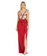 Adrianna Papell Crimson/Nude Draped Column Gown with Embroidered Bodice ... - $158.40