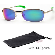 Xloop Sunglasses Metal Frame Mirrored Revo Lens Sports Shades Sunnies Gree Pouch - $9.99