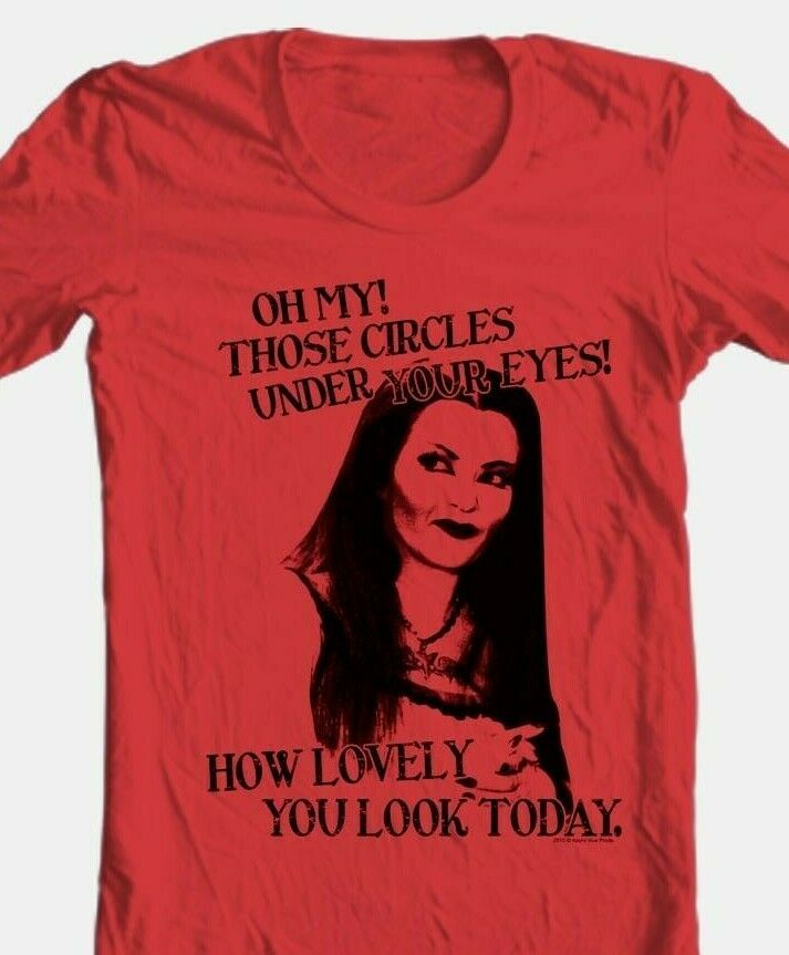 The Munsters T-shirt Lily How Lovely retro 60s TV graphic printed NBC336 RED